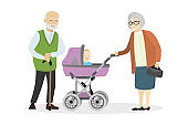 Grandmother and grandfather with a pram and baby