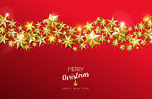 Christmas and new year card of gold star design