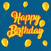 Happy birthday party retro greeting card