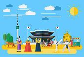 Flat design, Illustration of South Korean landmarks and icons