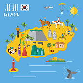 Flat design, Illustration of landmarks and icons in Jeju Island, South Korea, Vector