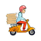 Delivery, the guy on the scooter motobike is carrying pizza. Vector