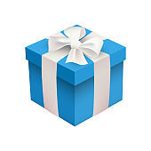 Blue Xmas box on white background. Vector