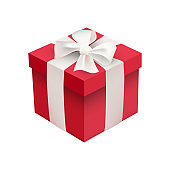 Red Xmas box on white background. Vector