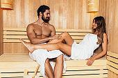 Couple on sauna treatment