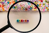 SEARCH word and alphabet letter beads enlarged by the magnifying glass on white background for search engine optimization concept, added color filter