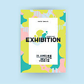 Creative universal art poster. Wave geometric pattern. Gallery or exhibition graphic elements