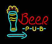 Neon Sign Beer Pub on a Black Background