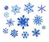 Set of snowflakes, watercolor