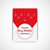 Merry christmas red color flyer with snowflake, vector