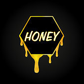Honeycomb and honey dripping on black background, vector