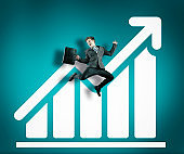 Business man jumping on a simple background with a graph painted on it. The concept of progress.