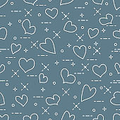 Cute seamless pattern with hearts. Valentine's