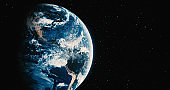 Planet Earth with star backgrounds