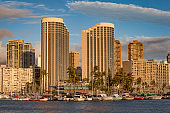 honolulu skyline at ala moana on oahu island, hawaii islands