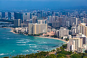 waikiki beach skyline, honolulu, oahu island, hawaii islands