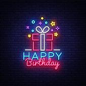 Happy Birthday neon sign vector. Happy Birthday Design template neon sign, Congratulation, celebration light banner, neon signboard, nightly bright advertising, light inscription. Vector illustration