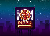 Pizza logo in neon style. Neon sign, emblem on Italian food. Pizza cafe, restaurant, fast food, dining room, pizzeria. Bright banner, night shining pizza advertisement. Vector illustration