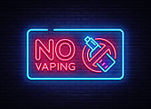 No Vaping neon sign vector template, light banner, bright night illustration, symbol vaping ban, no vaping, electronic cigarette neon. Vector illustration