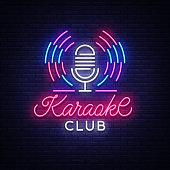 Karaoke Club Logo in Neon Style. Neon sign, bright nightly neon advertising Karaoke. Light banner, bright night billboard. Vector illustration