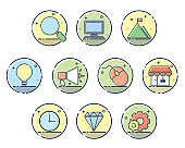 business icon design illustration,line filled style design
