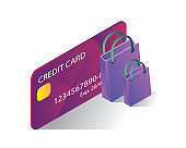 shopping with credit card isometric icons concept,shopping with credit card illustration vector