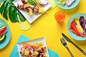 Hawaiian chicken grilled kabob summer food concept