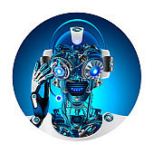 Robot face with headphone and microphone answering questions. Avatar or user pic technical support. Cyborg or bot with Artificial intelligence