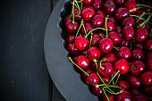 Cherries in a heart-shaped bowl detail