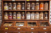 Spice jars on shelves.