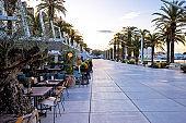 Split Riva waterfront colorful view, Dalmatia, Croatia