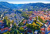 Samobor cityscape and surrounding hills aerial panoramic view, northern Croatia