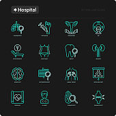 Hospital thin line icons set for doctor's notation: neurologist, gastroenterologist, manual therapy, ophthalmologist, cardiology, allergist, dermatologist. Vector illustration for black theme.