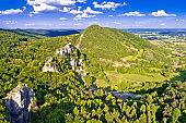 Kalnik mountain ridge and old fortress ruins aerial view, Prigorje region of Croatia