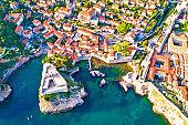 Dubrovnik ancient landmarks Lovrijenac and Pile city gate aerial view, UNESCO world heritage site in Dalmatia, Croatia