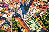 Zagreb cathedral and Dolac marketplace aerial view, capital of Croatia