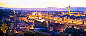 Florence cityscape panoramic evening view, Tuscany region of Italy
