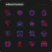 Blood donation, charity, mutual aid thin line icons set. Symbols of blood transfusion, medical help and volunteers. Vector illustration for World donor day.