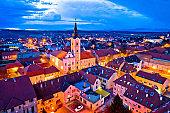 Town of Krizevci aerial panoramic night view, Prigorje region of Croatia