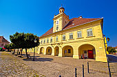 Old paved street in Tvrdja historic town of Osijek, Slavonija region of Croatia