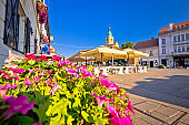 Samobor main square colorful flowers and architecture view, northern Croatia