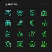 Medicine thin line icons set: doctor, ambulance, stethoscope, microscope, thermometer, hospital, z-ray image, MRI scanner, tonometer. Vector illustration for black theme.