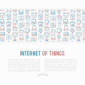 Internet of things concept with thin line icons: laptop, smart watch, cloud computing technology, kettle, speaker, smart car, robot vacuum. Vector illustration for banner, web page, print media.