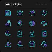 Psychologist thin line icons set: psychiatrist, disease history, armchair, pendulum, antidepressants, psychological support. Vector illustration for black theme.
