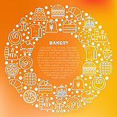 Bakery concept in circle with thin line icons: toast bread, pancakes, flour, croissant, donut, pretzel, cookies, gingerbread man, cupcake, burger, apple pie. Vector illustration, print media template
