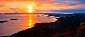 Adriatic town of Pakostane aerial sunset view, Dalmatia region of Croatia