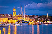 Island town of Krk evening waterfront view, Kvarner region of Croatia