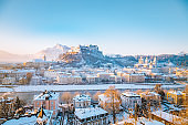 Historic city of Salzburg in winter, Austria