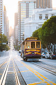 Historic San Francisco Cable Car on famous California Street at sunrise, California, USA