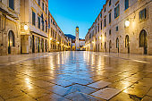 Old town of Dubrovnik at twilight, Dalmatia, Croatia